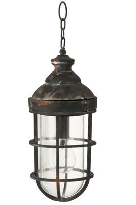 Lampada Da Parete Led Batteria Rotonda Metallo/Vetro Ruggine/Nero