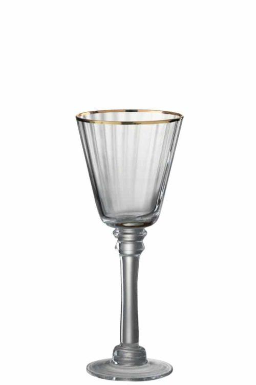 Bicchieri Vino Bianco Bordo Vetro Trasparente/Oro (6pz)