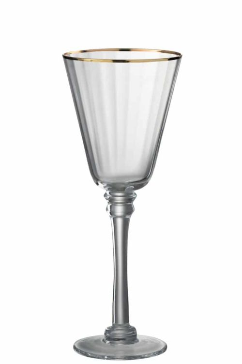 Bicchieri Vino Rosso Bordo Vetro Trasparente/Oro (6pz)