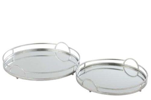 Set 2 Vassoi Rotondi Specchio Ferro Argento